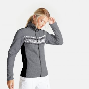 Dare 2b - Swarovski Embellished - Women's Overawe Full Zip Faux Fur Collar Luxe Fleece Mid Grey