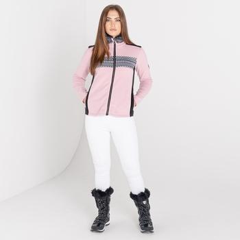 Dare 2b - Women's Engross Full Zip Faux Fur Trim Luxe Sweater Powder Pink