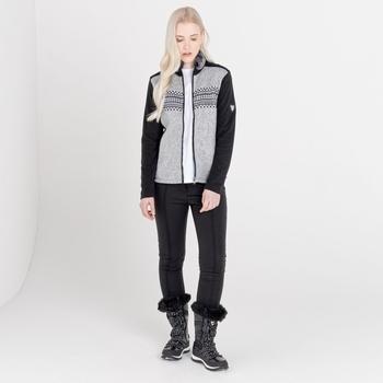 Dare 2b - Women's Engross Full Zip Faux Fur Trim Luxe Sweater Mid Grey Marl Black