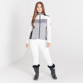 Dare 2b - Women's Engross Full Zip Faux Fur Trim Luxe Sweater White Mid Grey Marl