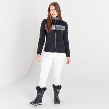 Dare 2b - Women's Engross Full Zip Faux Fur Trim Luxe Sweater Black