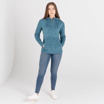 Dare 2b - Women's Obsessed Half Zip Drawcord Hooded Luxe Fleece Dragonfly Green