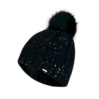 Women s Crystalized Bobble Beanie Hat Black df4bb4e4d003