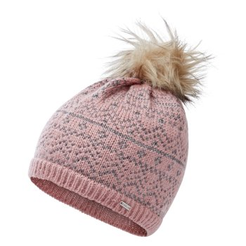 Dare 2b - Women's Adored Fleece Lined Faux Fur Bobble Beanie Pale Mauve