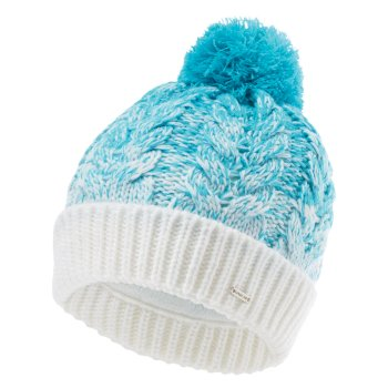 Dare 2b - Women's Mystify II Fleece Lined Knit Bobble Beanie Azure Blue White