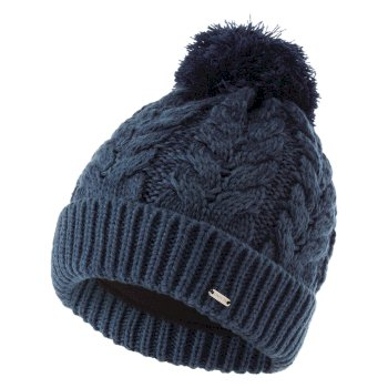 Dare 2b - Women's Mystify II Fleece Lined Knit Bobble Beanie Nightfall Navy Dark Denim