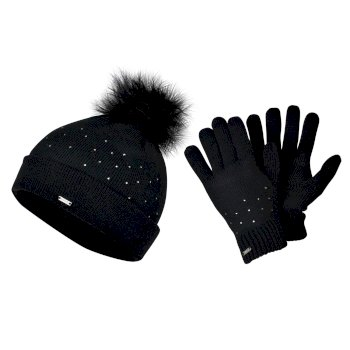 Dare 2b - Women's Bejewel Knitted Hat & Glove Embellished Luxe Set Black