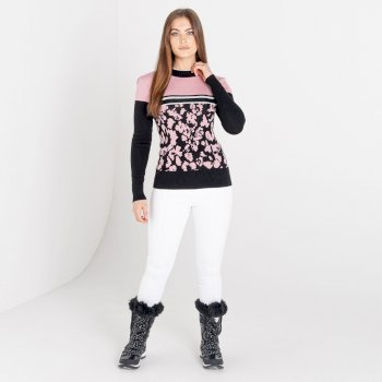 Damska bluza zdobiona kryształkami SwarovskiDare2B Fate czarna-różowa