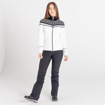 Swarovski Embellished - Women's Bejewel Full Zip Sweater White Black