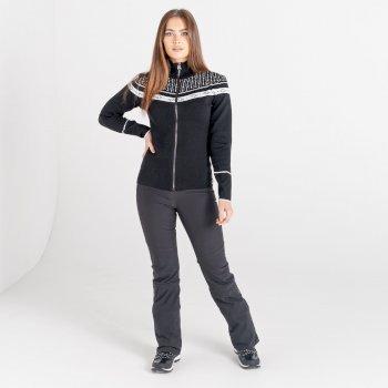 Swarovski Embellished - Women's Bejewel Full Zip Sweater Black White