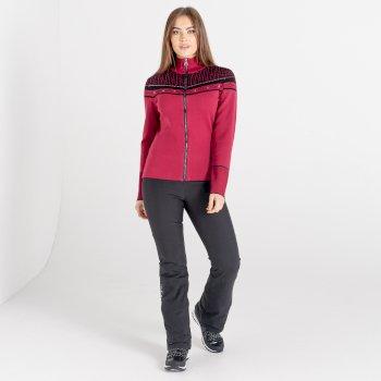 Swarovski Embellished - Women's Bejewel Full Zip Sweater Beetroot Black
