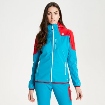 Dare 2b - Women's Inquire AEP Softshell Jacket with Detachable Hood Fresh Water Blue Lollipop Red