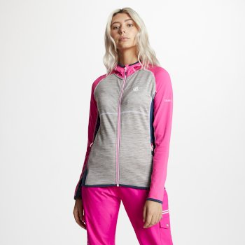 Dare 2b - Women's Courteous Lightweight Hooded Core Stretch Midlayer Cyber Pink Ash Grey Blue Wing