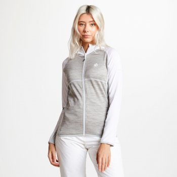 Dare 2b - Women's Courteous Lightweight Hooded Core Stretch Midlayer White Ash Argent Grey