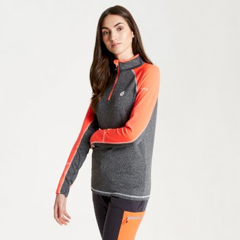 Dare 2b - Women's Involved Core Stretch Half Zip Midlayer Charcoal Fiery Coral
