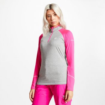 Dare 2b - Women's Involved Core Stretch Half Zip Midlayer Ash Grey Cyber Pink