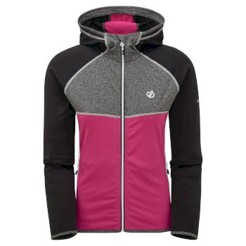 Dare 2b - Women's Courteous II Full Zip Hooded Stretch Midlayer Black Active Pink