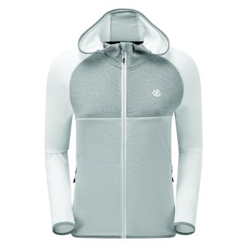 Dare 2b - Women's Courteous II Full Zip Hooded Stretch Midlayer White Argent Grey