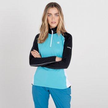Dare 2b - Women's Involved II Half Zip Lightweight Core Stretch Midlayer Azure Blue Black White