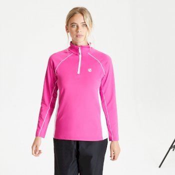 Dare 2b - Women's Involved II Half Zip Lightweight Core Stretch Midlayer Active Pink White