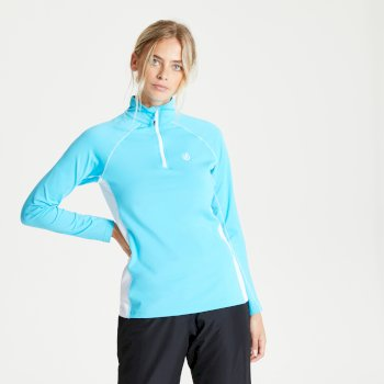 Dare 2b - Women's Involved II Half Zip Lightweight Core Stretch Midlayer Azure Blue White