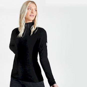 Dare 2b - Swarovski Embellished - Women's Bejewel Half Zip Lightweight Luxe Core Stretch Midlayer Black