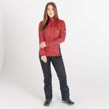 Damska bluza narciarska zdobiona kryształkami SwarovskiDare2B Outlast czerwona