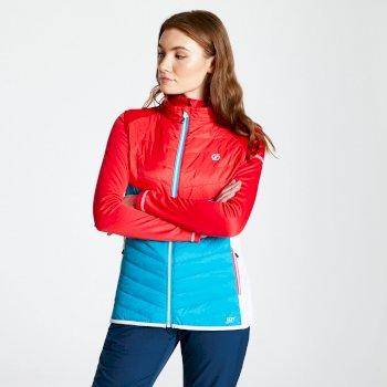 Dare 2b - Women's Nominate Wool Hybrid Baffled Vest Fresh Water Blue Lollipop Red