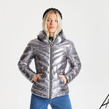 Dare 2b - Swarovski Embellished - Women's Reputable Insulated Quilted Hooded Luxe Jacket Chrome