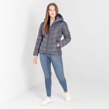 Dare 2b - Women's Reputable Insulated Quilted Hooded Luxe Jacket Ebony Grey