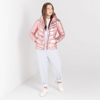 Dare 2b - Women's Reputable Insulated Quilted Hooded Luxe Jacket Powder Pink Metallic