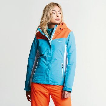 Women s Prosperity Ski Jacket Aqua Blue Vibrant Orange e411b9583