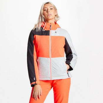 Dare 2b - Women's Purview Ski Jacket Argent Grey Fiery Coral Ebony
