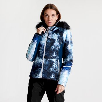 Dare 2b - Women's Iceglaze Faux Fur Trim Luxe Ski Jacket Blue Wing