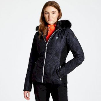 Dare 2b - Women's Iceglaze Faux Fur Trim Luxe Ski Jacket Black
