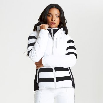 Dare 2b - Women's Snowglow Faux Fur Trim Luxe Ski Jacket White Black
