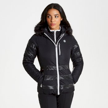 Dare 2b - Women's Snowglow Faux Fur Trim Luxe Ski Jacket Black