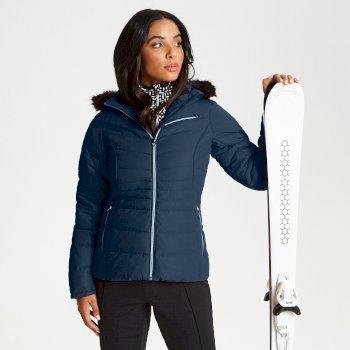 Damska kurtka narciarska z futerkiem Dare2b Glamorize Luxe Ski niebieska