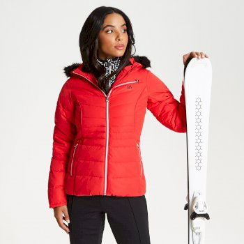 Damska kurtka narciarska z futerkiem Dare2b Glamorize Luxe Ski czerwona