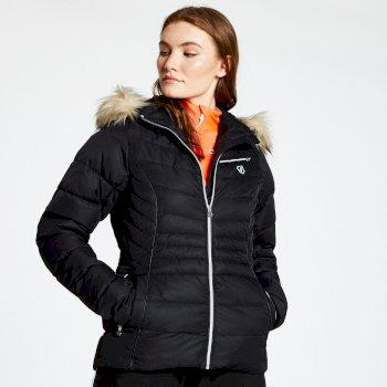 Women's Glamorize Faux Fur Trim Luxe Ski Jacket Black