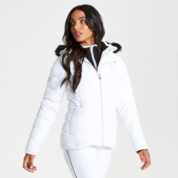 Damska kurtka narciarska z futerkiem Dare2b Glamorize Luxe Ski biała