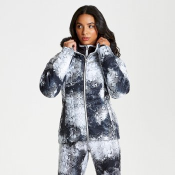 Dare 2b - Women's Glamorize Faux Fur Trim Luxe Ski Jacket Monochrome Snakeskin Print