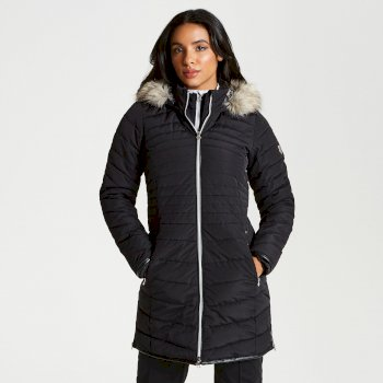 Dare 2b - Women's Striking Long Length Quilted Luxe Ski Jacket Black