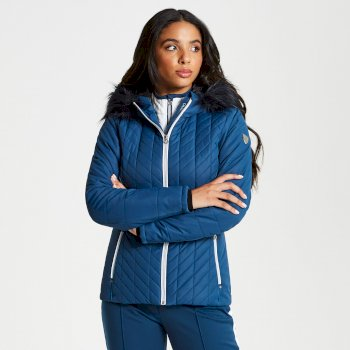 Dare 2b - Women's Icebloom Luxe Faux Fur Trimmed Quilted Ski Jacket Blue Wing