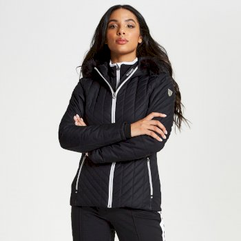 Dare 2b - Women's Icebloom Luxe Faux Fur Trimmed Quilted Ski Jacket Black