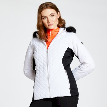 Dare 2b - Women's Icebloom Luxe Faux Fur Trimmed Quilted Ski Jacket White