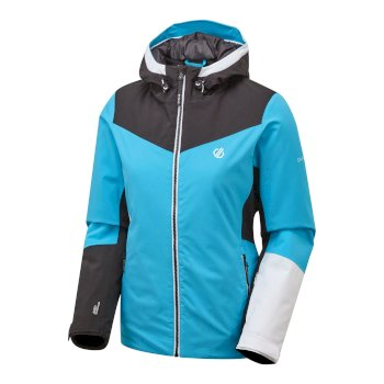 Dare 2b - Women's Ice Gleam Waterproof Insulated Hooded Ski Jacket Azure Blue Black