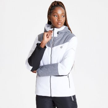 Dare 2b - Women's Ice Gleam Waterproof Insulated Hooded Ski Jacket White Aluminium Grey