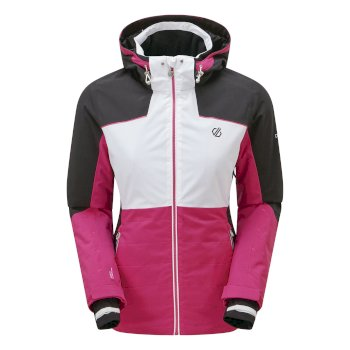 Dare 2b - Women's Flourish Waterproof Insulated Hooded Ski Jacket Active Pink White