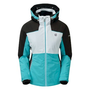 Dare 2b - Women's Flourish Waterproof Insulated Hooded Ski Jacket Azure Blue White